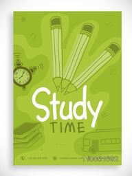 Back to School template, banner or flyer design decorated with line art of stationary and bus.