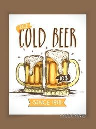 Vintage Cold Beer menu card design with price detail for club, pub or beer bar.