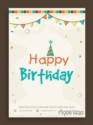 Happy Birthday invitation card design decorated with colorful buntings.