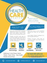 Creative Template, Brochure or Flyer design with medical icons for Health Care Center.
