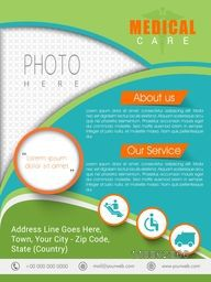 Medical care template, banner or flyer design with place holders for image and content.