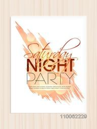 Beautiful invitation card, template or flyer design for Saturday Night Party.