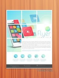 Corporate business flyer, template or brochure design for technology and networking concept.