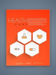 Creative Health Care flyer, template or brochure presentation with medical icons.