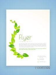 Stylish flyer, template or brochure design with green leaves based on ecology concept.