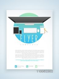 Stylish professional flyer, template or brochure design for technology concept.