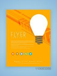 Stylish business flyer, template or brochure design with light bulb for idea concept.