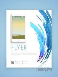 Stylish business flyer, template or brochure design based on technology concept.
