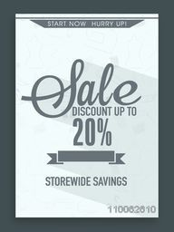 Sale Poster, Sale Banner, Sale Flyer, Sale Background, 20% Discount Offer, Creative vector illustration.