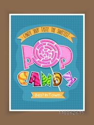 Vintage poster, banner or flyer design in blue color for sweet Candy Shop.