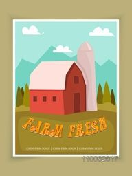 Stylish Farm Fresh flyer, template or brochure design with nature view.