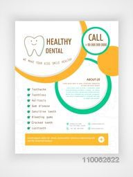 Healthy Dental Flyer, Template or Brochure layout for Health and Medical concept.