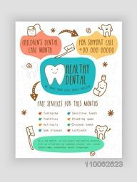 Healthy Dental Template, Brochure or Flyer design for Health and Medical concept.