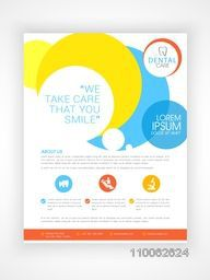 Stylish Dental Care flyer, template or brochure design with medical icons and details.