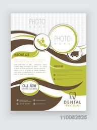 Dental Treatment flyer presentation with place holders for image and your content, Health and Medical concept.