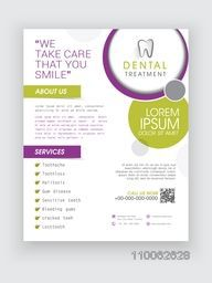 Professional Dental Treatment flyer, banner or template design for Health and Medical concept.