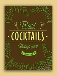 Vintage Best Cocktails flyer, template or banner design for club, pub and beer bar.