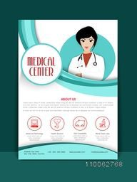 Medical Center Flyer or Brochure layout with illustration of a young female doctor.