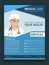 Stylish Medical Care template, brochure or flyer design with proper place holders for your content.