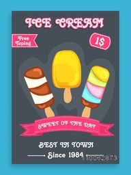 Stylish menu card design for sweet Ice Cream with free toppings offer.