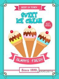 Beautiful vintage menu card design for sweet Ice Cream with different flavours.
