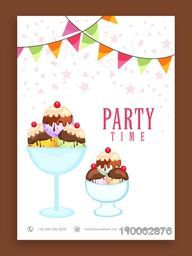 Beautiful flyer, template or banner design for Party Time decorated with sweet ice cream.