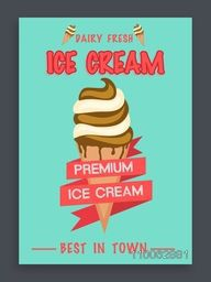 Vintage flyer, template or banner design for fresh Premium Ice Cream.