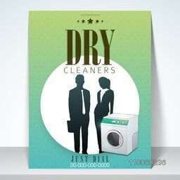 Beautiful stylish brochure, flyer or template design for dry cleaners.