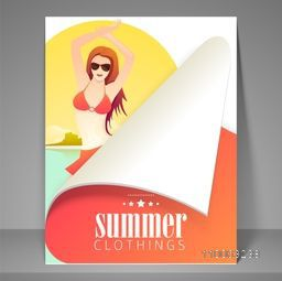 Summer clothing flyer, brochure or template design with fashionable girl.