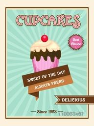 Vintage cupcakes menu card, flyer, or brochure design in sky blue color.