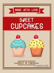 Vintage flyer, template or banner design for sweet cupcakes.