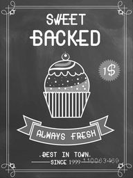Creative price menu card design for sweet cupcake in chalkboard style.