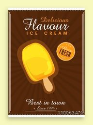 Vintage menu card design for delicious flavour Ice Cream.