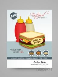 Fast Food Corner Menu Card design with special offer on fresh sandwich.