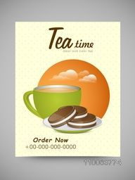 Tea Time Menu Card design decorated with tea cup and cookies for restaurant and cafe.