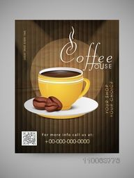 Stylish Menu Card, Template or Flyer for Coffee House decorated with cup of coffee and cocoa beans.