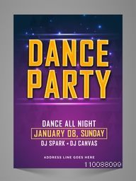 Dance Party Flyer, Banner, Invitation or Pamphlet design.