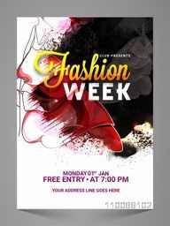 Creative Fashion Week Flyer, Banner, Pamphlet or Poster with Young Fashionable Models.