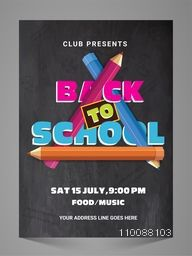 Chalkboard style Poster, Banner, Flyer or Pamphlet with colorful Educational Supplies Pencils for Back to School Concept.