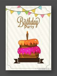 Birthday Celebration Invitation or Greeting Card design with colorful Cake.