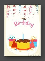 Birthday Celebration Invitation or Greeting Card design with colorful gifts, cap and cake.