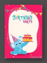 Birthday Celebration Invitation or Greeting Card design with illustration of a cute elephant holding Cake.