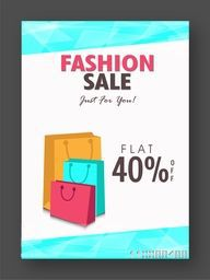 Stylish Fashion Sale Flyer, Banner, Pamphlet or Poster with Flat 40% Off and Shopping Bags.