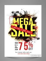 Mega Sale Flyer, Banner, Poster or Pamphlet with 75% Discount Offer for Limited Time Only.