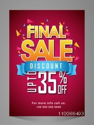 Creative Final Sale Flyer, Banner, Pamphlet or Poster with Discount Upto 35% Off and glossy ribbon.