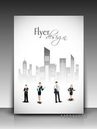 Professional flyer, banner, template or corporate brochure with business people in front of city view.