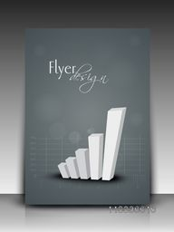 Stylish flyer, banner, template or brochure with 3D statistical bar on graph for your business.
