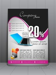 Creative stylish flyer, banner, template or brochure with laptop for Laptop Shop and store.