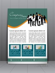 Stylish business flyer, banner, template or brochure design with illustration of business people.