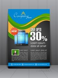 Creative stylish flyer, banner, template or brochure with smartphone for Mobile Shop.